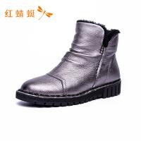 红蜻蜓女鞋纯色简约亮面防水马丁靴舒适保暖平底短靴女