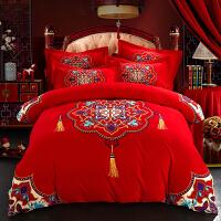 纯棉结婚床上用品 全棉磨毛婚庆四件套大红色被套 新婚四件套
