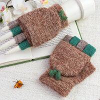 可爱韩版学生毛线露指手套女冬天保暖两用翻盖半指手套女冬