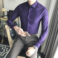 春夏商务正装男士纯色长袖衬衫韩版修身时尚休闲发型师白衬衣寸衫