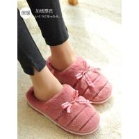 韩版女士棉拖鞋室内保暖毛拖鞋 新款居家用鞋防滑平底厚底情侣毛绒棉鞋
