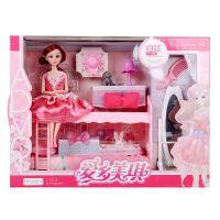 爱多美琪芭比娃娃公主女孩过家家换装丽莉梦幻卧室梳妆台套装玩具