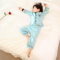 儿童家居服套装秋季秋天男童睡衣长袖春秋棉秋款薄款