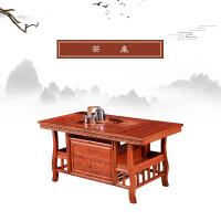 实木茶桌椅组合功夫茶台桌米榆木仿古办公室茶桌茶具套装一体 组装