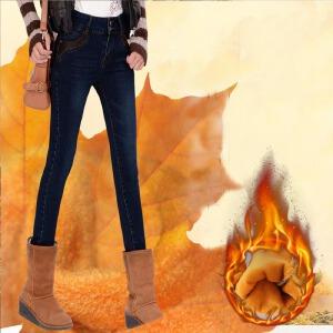 冬季新款时尚百搭潮流加厚紧身弹力女士牛仔裤