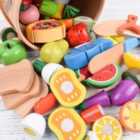 仿真水果蔬菜切切看 切水果玩具 木制切切乐 过家家厨房玩具