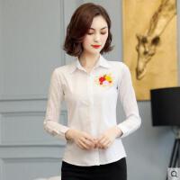 户外新品纯棉衬衫女长袖网红同款新款韩版修身百搭白色刺绣衬衣上衣