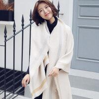 文艺学生毛线仿羊绒大披肩两用围巾百搭加厚女长款