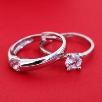 结婚戒指一克拉仿真钻戒男女活口情侣对戒婚礼假戒指道具戒指盒