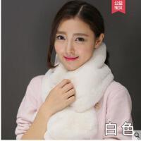 獭兔毛绒皮草围脖双面交叉加厚保暖纯色韩版时尚围巾女