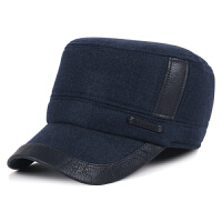 帽子男士平顶帽秋冬季户外休闲保暖护耳帽中老年加厚毛呢帽