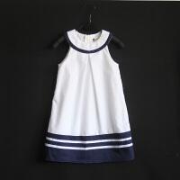 新款童装女夏海军蓝连衣裙儿童宝宝小女孩纯棉背心裙公主裙学院风