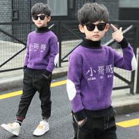儿童套头高领水貂绒洋气冬装中大童加绒打底衫潮男童毛衣