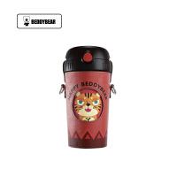 【限时秒杀】杯具熊(BEDDYBEAR)酷儿系列儿童吸管杯卡通便携背带保温大肚杯水壶520ml 苹果虎