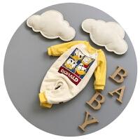 新生儿衣服加厚秋冬季0-3个月6婴儿连体衣加绒百天宝宝冬装男女潮