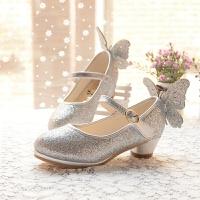 女童白皮鞋儿童高跟公主鞋春款单鞋韩版大童女孩银粉色舞蹈鞋