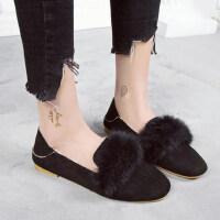 厚底棉鞋女鞋冬保暖加绒鞋瓢鞋懒人鞋平底女士休闲毛毛单鞋