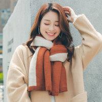 双面撞色仿羊绒围脖女士保暖韩版毛线围巾女百搭学生披肩