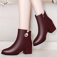 短靴女粗跟2017秋冬新款女士复古马丁靴女英伦风休闲圆头中跟靴子