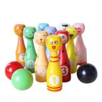 儿童健身玩具木制桌面游戏婴幼儿益智玩具迷你卡通动物保龄球