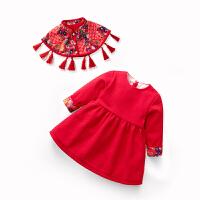 女童公主裙小童红色连衣裙拜年服宝宝周岁礼服女婴儿裙子