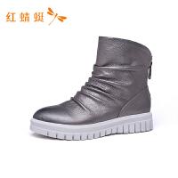 红蜻蜓女鞋秋冬款时尚马丁靴百搭皮面舒适短筒靴子休闲短靴