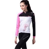 女粉红色自行车服 公路骑行蒲公英长袖骑行服套装 户外运动