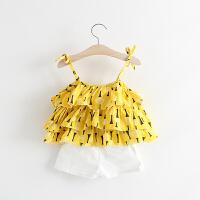 夏款女童夏季婴童宝宝吊带印花背心套装0-1-2岁外出服潮