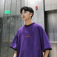 港风紫色短袖T恤男潮夏季宽松原宿风情侣半袖上衣