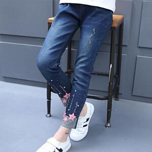 乌龟先森 儿童牛仔裤 女童春季新款时尚潮流小学生童装可爱女孩破洞绣花儿童长裤子