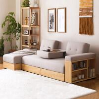 日式北欧布艺沙发床可折叠客厅小户型双人懒人沙发