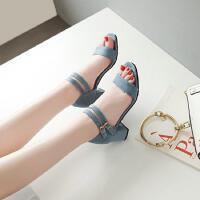 韩版真皮时尚女童凉鞋夏季中大童小公主儿童高跟鞋女孩罗马鞋