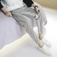 小清新基本款百搭青少年学生小脚裤条纹运动休闲哈伦裤
