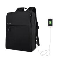 双肩包男士商务公文充电背包14寸13电脑包简约多功能书包男 黑色 充电升级