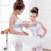 儿童演出服女童蓬蓬裙芭蕾舞裙吊带白色吊带芭蕾表演服公主裙纱裙