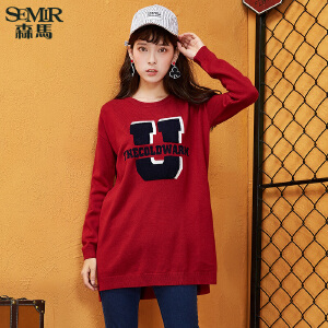 森马毛衣 冬装 女士圆领套头字母中长款宽松毛针织衫韩版