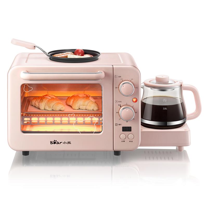 小熊(Bear)电烤箱 烤面包机多士炉全自动家用小型多功能烤箱三合一早餐机  DSL-C02B1 【书香节大促,抢99-15卷下单】煎烤暖奶一体三合一早餐机 8L烤箱 简易操作