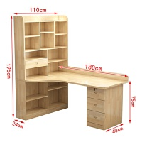 实木书桌书架组合转角电脑桌台式书柜一体简约卧室学习写字桌