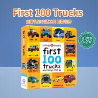 顺丰发货 英文原版 First 100 Trucks 精装纸板书 0-1-2-3岁儿童启蒙 宝宝图片认知书 交通工具
