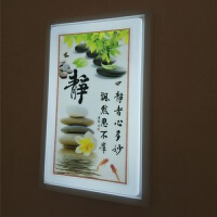 新中式壁灯 壁灯led壁画灯现代新中式带画壁灯客厅卧室走廊过道创意画灯 乳白色 中号静18W三色