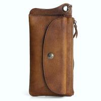 手工牛皮长款钱包做旧多功能男士复古手包皮大容量拉链手机包