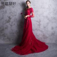 韩版显瘦年会宴会红色晚礼服长款新娘敬酒服2018新款结婚订婚回门
