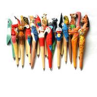 木质工艺笔 经典热销木雕动物笔 手工雕刻木头笔 创意文具圆珠笔