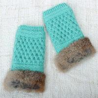 短毛线手套无半指针织保暖漏指截真兔毛手套露指女款秋冬