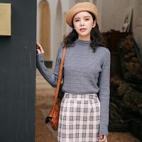 针织衫 女士学生半高领条纹针织衫2020秋季新款韩版时尚女式休闲套头毛衣女装打底衫