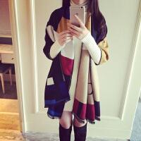 围巾女秋冬季时尚韩版格子长款加厚披肩外搭两用双面百搭学生毛线围脖