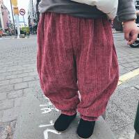 针织c柔软加绒加厚灯笼裤 史豌豆女童裤子打底裤加绒儿童棉裤暖