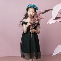 女童裙子夏季2018新款韩版洋气公主裙中大童荷叶边网纱无袖连衣裙