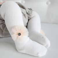 秋冬款儿童连裤袜女童打底裤袜纯色袜裤棉可爱花朵中小童女孩裤袜