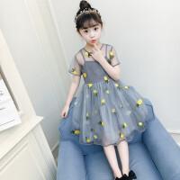 女童连衣裙夏季新款小女孩时髦洋气韩版公主裙儿童学生裙子5-12岁 灰色 偏小一码